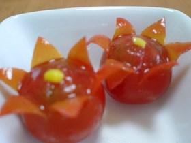 キャラ弁に☆プチトマトでお花