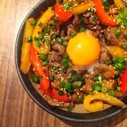 漬け込み簡単◎牛肉とパプリカのプルコギ丼の写真
