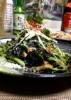 サバ缶と春菊のキムチ搾菜和え♡゙