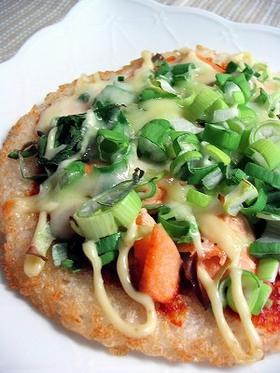 鮭マヨチーズのライスピザ