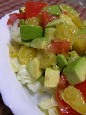 アボカドとあまなつのシンプルサラダ