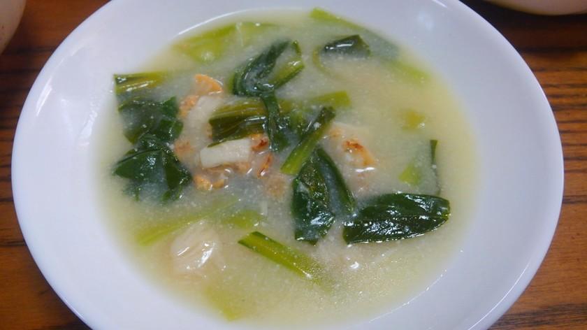 チンゲン菜とベビーホタテの中華豆乳スープ
