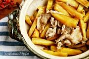 土鍋でレンチン、薩摩芋と豚肉の生姜焼きの写真
