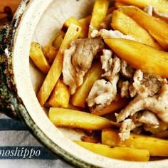 土鍋でレンチン、薩摩芋と豚肉の生姜焼き
