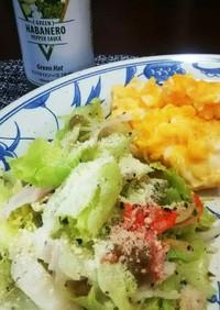 白菜の漬物で簡単、レタスのマリネサラダ。