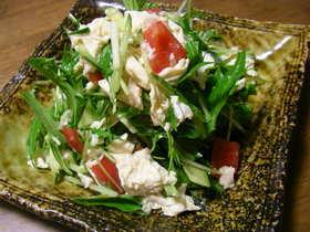 水菜と湯葉のヘルシー和風サラダ