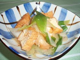 ピリッと辛い長ねぎと厚揚げの簡単煮