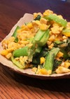 小松菜とコーンと炒り卵*で簡単おかず
