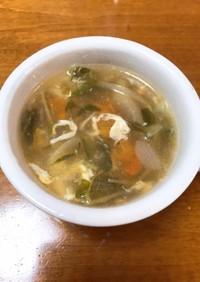 豆苗・トマト・たまごの中華風スープ