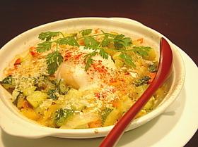 トマトとイタリア野菜の温たまオーブン焼き