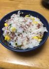 コンビーフとコーンの炊き込みご飯