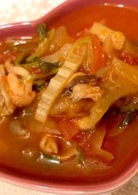 鶏もも肉とセロリのトマトスープ