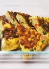 野菜とハム、大豆入♪チーズ風味の卵焼き