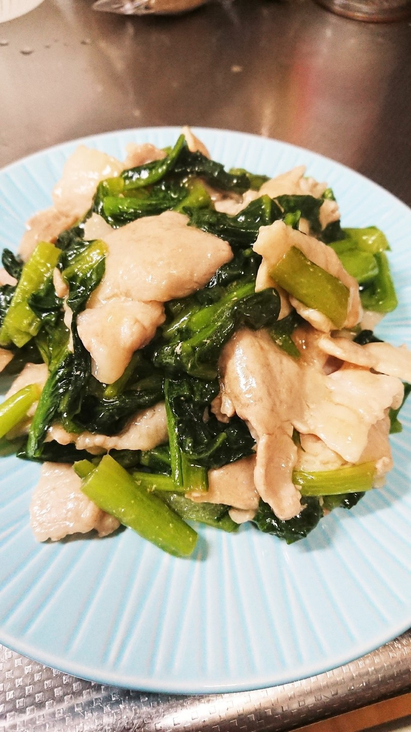 小松菜と豚バラの炒め物