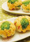 菜の花と玉子そぼろの手まりちらし寿司