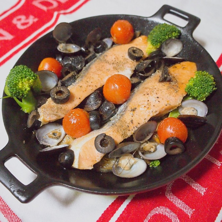 塩鮭で簡単アクアパッツァ