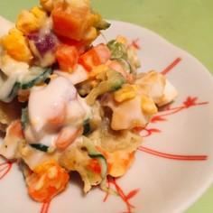 ゴロゴロ野菜とサツマイモの満足サラダ