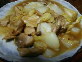 白菜とチキンのバター酢醤油炒め