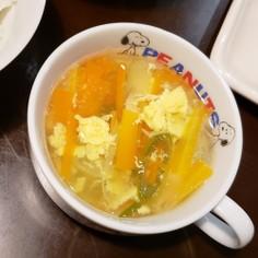 ネギとニンジンの白だし卵スープ