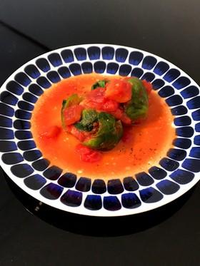 ロール芽キャベツのトマトソースがけ