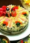 とっておき、ひな祭りのちらし寿司ケーキ。