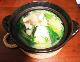 ぶりの刺身と水菜の簡単なべ