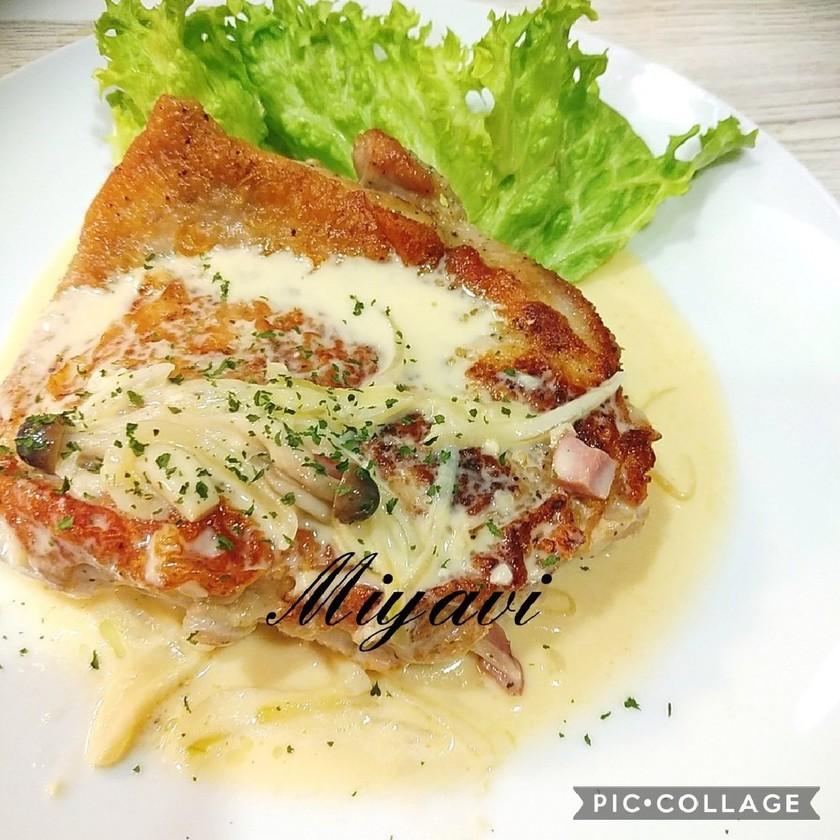チキンのカルボナーラ風チーズクリーム♡