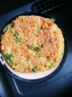 カレー味の焼き卵かけご飯