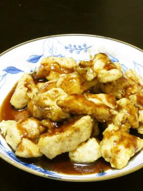 鶏ささみのオリーブ油揚げバルサミコソース