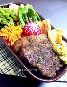 炊飯器で簡単♡獅子唐と豚角煮弁当
