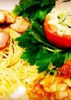 厚切りベーコンパスタ&トマトカップサラダ
