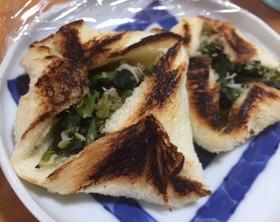 野沢菜とじゃこ、食パンで簡単おやき風