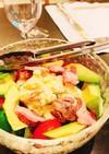 簡単^_^ポテトサラダに肉アボカド
