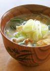 小松菜と厚揚げとなめこの具だくさん味噌汁
