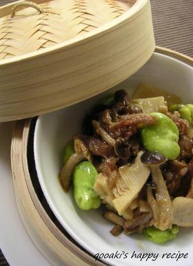 豚肉と筍とそら豆の蒸し物