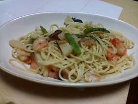竹の子と海老の スパゲッティ
