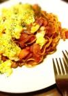 簡単 ナポリタン 炒り卵のせ