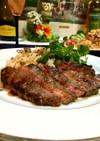 お肉でご飯【ステーキガーリックライス♥】