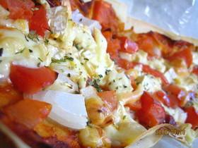 春巻きの皮de薄焼きピザ