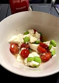 豆腐とトマトと枝豆のお酢でさっぱりサラダ