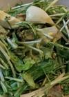 ゆで卵と水菜とレタスのサラダ