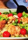 鶏モモとバジル・トマトのオーブン焼き