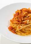 パンチェッタとチーズのトマトソースパスタ