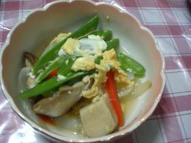 高野豆腐ときぬさやの卵とじ☆