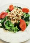 納豆の白和えわかめ 玉葱 レタスサラダ