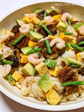 穴子と塩麹アボカドのちらし寿司