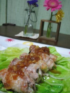 豚肉で春のポークロール♪玉ねぎソース☆