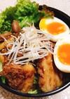 舞茸でお肉柔らか!豚バラ肉で半熟卵のせ丼
