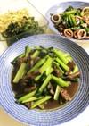 牛肉と小松菜のピリ辛牡蠣油炒め