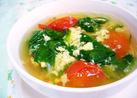 ほうれん草とトマトのかき玉スープ
